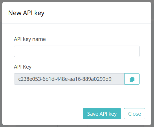 New API key dialog